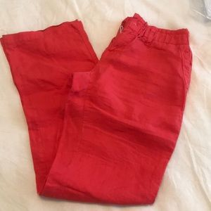 Bright coral linen pants in a size 6.